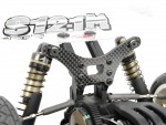 Standard with 6mm 7075 Aluminum Front Shock Tower and Rear 4mm Pro-composite Carbon Fiber Shock Tower.